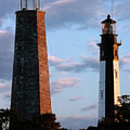 Cape Henry Lighthouses In Virginia by Skip Willits