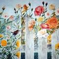 Carolina Wren And Roses by Ben Kiger