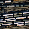 Carriages Of Freight Trains On A Commercial Railway by Sami Sarkis