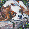 Cavalier King Charles Spaniel In The Pansies  by Lee Ann Shepard