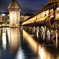 Chapel Bridge At Night In Lucerne by George Oze