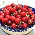 Cherries In Blue Bowl by Carol Groenen