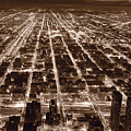 Chicago City Lights West B W by Steve Gadomski