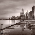 Chicago Foggy Lakefront BW Poster by Steve Gadomski