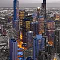 Chicago Loop Sundown Bw Color Blend by Steve Gadomski