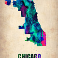 Chicago Watercolor Map Print by Naxart Studio