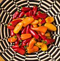 Chili Peppers In Basket  by Garry Gay