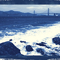 China Beach And Golden Gate Bridge With Blue Tones by Carol Groenen
