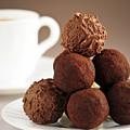 Chocolate truffles and coffee Print by Elena Elisseeva