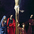 Christ On The Cross With The Virgin Mary Magdalene St John And St Francis Of Paola by Nicolas Tournier