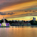 City Park Fountain At Sunset by Stephen  Johnson