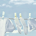 Clothes Hanging On Clothesline by Sandra Cunningham