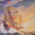 Columbus Crossing The Atlantic by Newell Convers Wyeth