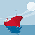 Container Ship Cargo Boat Retro by Aloysius Patrimonio