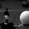 Corner Kick Football Soccer Scene Reinacted With Subbuteo Table Top Football Players Game by Joe Fox