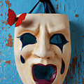 Crying Mask And Red Butterfly by Garry Gay