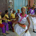 Cuban Band Los 4 Vientos And Dancers Entertaining People In The Street In Havana by Sami Sarkis