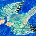 Detail Of Bird People Flying Bluetit Or Chickadee by Sushila Burgess