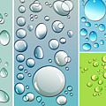 Different Size Droplets On Colored Surface by Sandra Cunningham