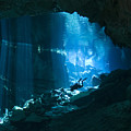 Diver Enters The Cavern System N by Karen Doody