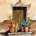 Door With Flower Pots by Sam Sidders