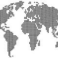 Dot Map Of The World - Black And White by Michael Tompsett