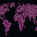 Dot Map Of The World - Pink by Michael Tompsett