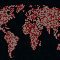 Dot Map Of The World - Red by Michael Tompsett