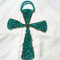 Emerald Wall Hanging Glass Beaded Suncatcher Copper Cross by Serendipity Pastiche
