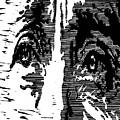 Eyes No. 2 --  Hand-pulled Linoleum Cut by Lynn Evenson