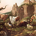 Farm Animals In A Landscape by Johann Heinrich Roos