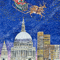 Father Christmas Flying Over London by Catherine Bradbury