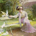 Feeding The Doves  by Edmond Alphonse Defonte