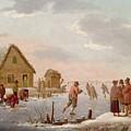 Figures Skating In A Winter Landscape by Hendrik Willem Schweickardt