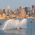 Fire Boat And Manhattan Skyline Iv by Clarence Holmes