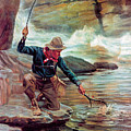 Fisherman By Stream by Phillip R Goodwin
