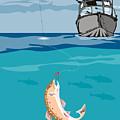 Fisherman On Boat Trout  by Aloysius Patrimonio