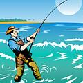 Fisherman Surf Casting by Aloysius Patrimonio