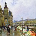 Flower Sellers By The Seine by Georges Stein