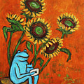 Frog I Padding Amongst Sunflowers by Xueling Zou