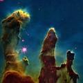 Gas Pillars In The Eagle Nebula Print by Nasaesastscij.hester & P.scowen, Asu