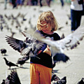 Girl With Pigeons by Heiko Koehrer-Wagner