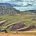 Glacier Mountains Meadows Horses by David Halperin