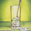Glass With Melting Fork by Melissa A Benson