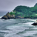 Gloomy Heceta Lighthouse  by Connie Cooper-Edwards