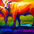 Golden Beauty - Cow And Calf by Marion Rose