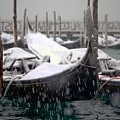 Gondolas In Venice In The Snow by Michael Henderson