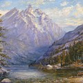 Grand Tetons And Jenny Lake Tryptych Center by Lewis A Ramsey