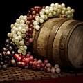 Grapes And Wine Barrel by Tom Mc Nemar
