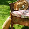 Grass Lawn With A Wicker Chair  by Sandra Cunningham